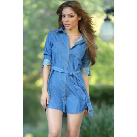 416f3f7023 Light Blue Button Down Belted Denim Mini Dress (Light Blue Button ...