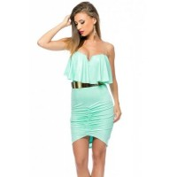 Light Blue Ruffle Trim Bodycon Mini Dress
