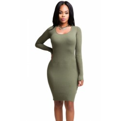 Light Green Cut-out Back Knit Dress