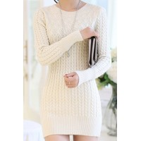 Long Sleeves Solid Color Sweater Stylish Dress For Women white blue
