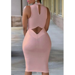 Noble Solid Color Back Hollow Out Sleeveless Bodycon Dress For Women black pink white
