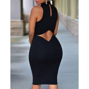 Noble Solid Color Back Hollow Out Sleeveless Bodycon Dress For Women  BLACK, PINK, WHITE