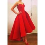 Noble Strapless High Waist Pleated Ball Gown Red Maxi Dress For Women red