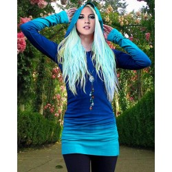 Novelty Hooded Ombre Color Long Sleeve Hoodie For Women blue purple
