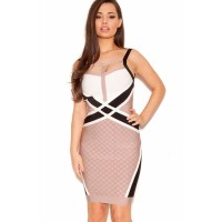 Nude Black White Strappy Bandage Dress