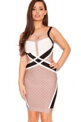 Nude Black White Strappy Bandage Dress