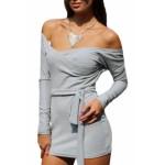 Off Shoulder Bodycon Club Dress with Self-tie Grey
