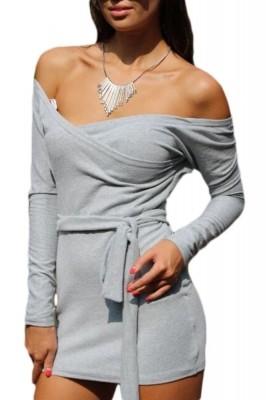 Off Shoulder Bodycon Club Dress with Self-tie Grey