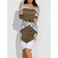 Off The Shoulder Geometric Print Skinny Dress