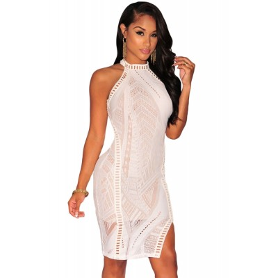 Off-white Lace Nude Illusion Key-Hole Back Dress