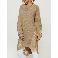 Openwork High Low Sweater
