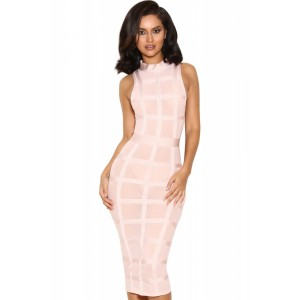 Pink Grid Bandage Frock Dress
