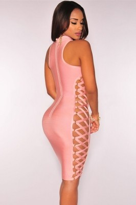 Pink Lace up Contour Bandage Dress