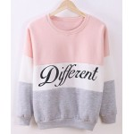 Preppy Style Women's Round Neck Color Block Letter Print Long Sleeve Flocking Sweatshirt pink