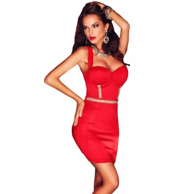 Red Cupped Rhinestone Detail Vertical Strappy Back Dress