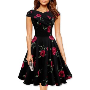 Retro Style Women's V-Neck Rose Print Short Sleeve Ball Dress