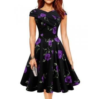 Retro Style Women's V-Neck Rose Print Short Sleeve Ball Dress