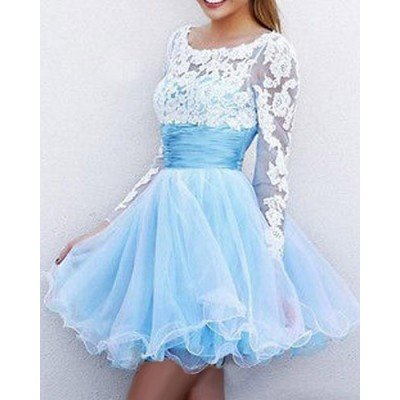 Scoop Neck Long Sleeves Lace Splicing Backless Sweet Dress For Women light blue