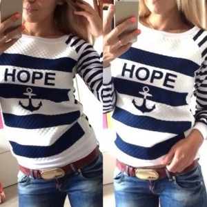 Scoop Neck Long Sleeves Striped Letter Print Stylish Sweatshirt For Women blue