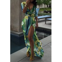 Sexy Colorful Print Plunging Neck High Slit Maxi Dress For Women green