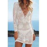 Sexy Criss-Cross Plunging Neckline Cover-Up For Women white