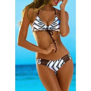 Sexy Geometrical Strappy Bikini Set For Women
