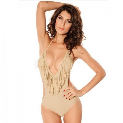 Sexy Halter Fringe Solid Color Cut Out Swimwear For Women apricot