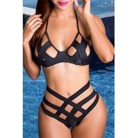 Sexy Halter Neck Hollow Out Criss-Cross Black Bikini Set For Women black