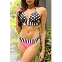 Sexy Halter Polka Dot Spliced Bikini Set For Women