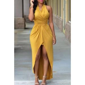 Sexy Halter Sleeveless Hollow Out High Low Hem Dress For Women yellow