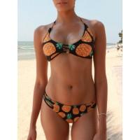 Sexy Halter Sleeveless Lace-Up Pineapple Pattern Bikini Set For Women
