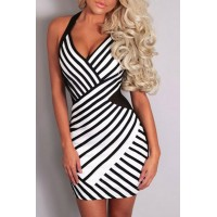 Sexy Halter Sleeveless Striped Bodycon Dress For Women