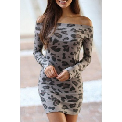 Sexy Off-The-Shoulder Long Sleeve Leopard Print Bodycon Dress For Women