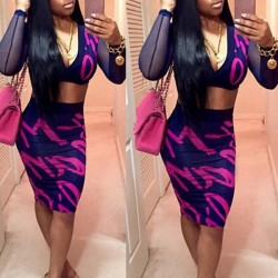 Sexy Plunging Neck Short Blouse +Scrawl Print Bodycon Skirt Twinset For Women purple