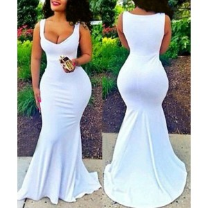 Sexy Plunging Neck Sleeveless Bodycon White Fishtail Maxi Dress For Women white