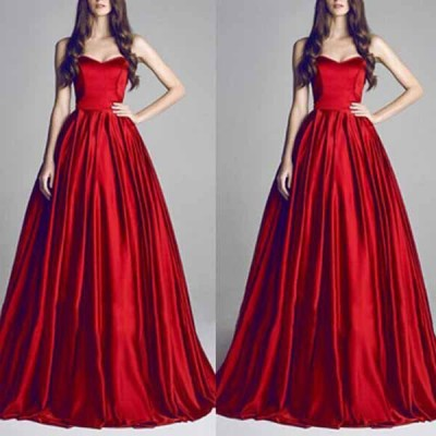 Sexy Red Strapless Maxi Dress For Women RED