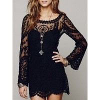 Sexy Scoop Collar Long Sleeve See-Through Solid Color Lace Dress For Women black white