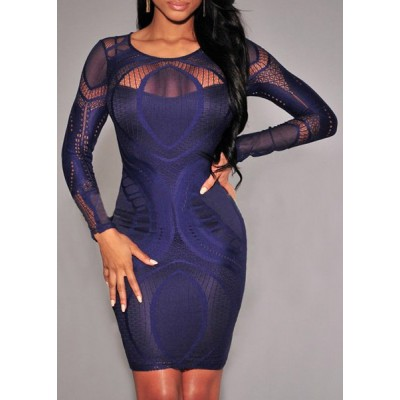 Sexy Scoop Neck Long Sleeve Solid Color See-Through Slimming Dress For Women white red blue