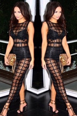 Sexy See-through Grid Slit Back Bandage Gown