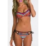 Sexy Self-Tie Colorful Bikini Set For Women