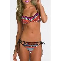 Sexy Self-Tie Colorful Bikini Set For Women