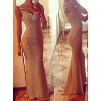 Sexy Sequined Plunging Neckline Mermaid Dress For Women golden