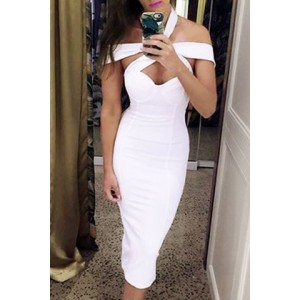 Sexy Sleeveless Hollow Out Solid Color Bodycon Dress For Women white