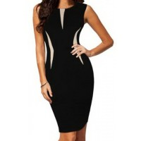 Sexy Sleeveless Round Neck Color Block Bodycon Dress For Women black