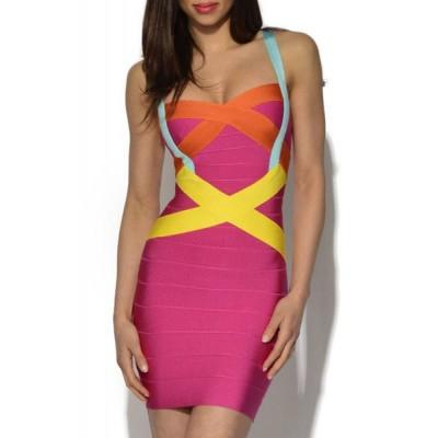 Sexy Spaghetti Strap Color Block Bodycon Bandage Dress For Women