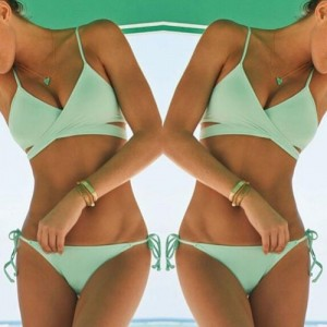 Sexy Spaghetti Strap Lace-Up Solid Color Bikini Set For Women green