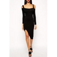 Sexy Spaghetti Strap Long Sleeve Asymmetrical Dress For Women black