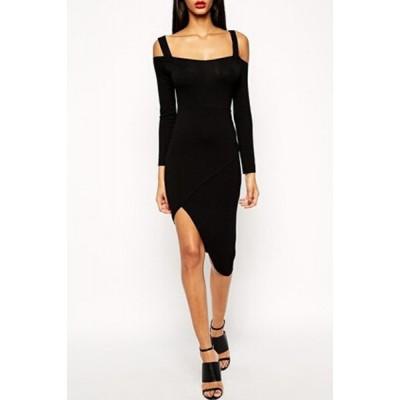 Sexy Spaghetti Strap Long Sleeve Asymmetrical Dress For Women black