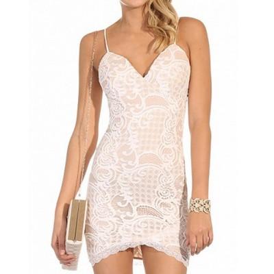 Sexy Spaghetti Strap Sleeveless Spliced Slimming Dress For Women PURPLISH BLUE, WHITE
