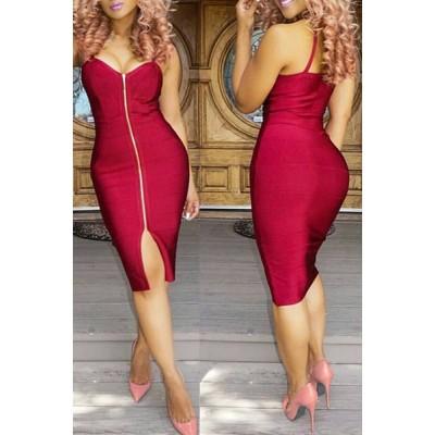 Sexy Spaghetti Strap Solid Color Zip Up Bodycon Midi Dress For Women RED